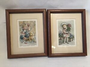 Lot Of 2 Framed Limited Edition Etching Print Ruth Betcher Boy W/ Dog & Girl