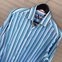 Robert Graham X Flip Cuff L/S Button Shirt Blue Stripe 100% Cotton Men's M