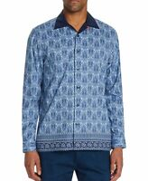 Tallia Mens Shirt Blue Size Medium M Button Down Paisley Longsleeve $88 #096