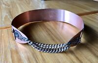 Vintage 1950s COPPER BAND BELT Modernist  HAND CRAFTED Waist Cinch With Chain