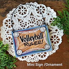 DECO Mini Sign Volleyball Rules Volley Ball Player Wood Ornament TeamGift USA