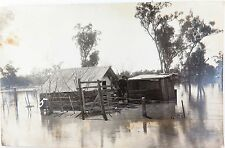 ".RARE c1920 GOONDIWINDI FLOODS REAL PHOTO POSTCARD. ""MICKS HOUSE IN THE FLOOD"""