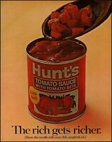 1969 Hunt's canned tomato sauce bits wooden spoon vintage photo print Ad adL52