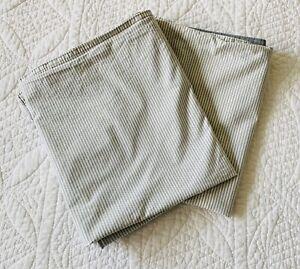 IKEA Pair Blavinda Grey Striped Front Solid Back King Pillow Shams ~ EUC Flaw