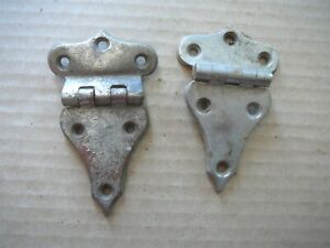 PAIR ANTIQUE SALVAGED NICKELED CAST BRASS HINGES for ANTIQUE WOOD OAK ICEBOX