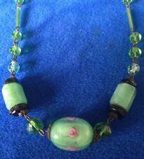 Antique Art Deco Czech Green Satin Rose Glass Necklace - bridal Jewellery