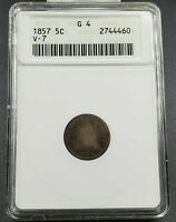 1857 Liberty Seated Half Dime Coin ANACS G4 Valentine-7 V-7 Die Variety at Date