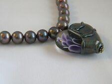 Lampwork Heart Raku Color & Purple White Bead & Grey Peacock Pearls Necklace