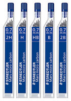 STAEDTLER MARS MICRO CARBON 250 0.7MM 2H H HB B 2B MECHANICAL PENCIL LEADS