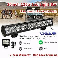 "20inch CREE Led Light Bar Spot Flood + 2X 4"" Pods Work Offroad Driving SUV Truck"