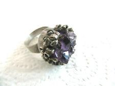 925 Silber Design Ring mit Natur Amethyst Meisterpunze W  60er Jahre