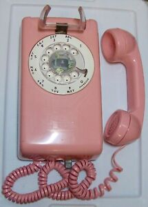1970s Western Electric Model 554 Series PINK Rotary Dial Wall Mount Telephone