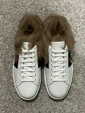 $830 Gucci Ace Bee Embroidered White Fur Sneakers UK 8.5 US 9.5