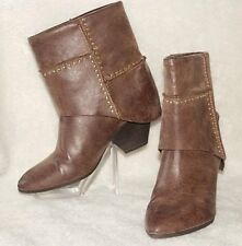 "FERGIE ~ ""Knack""  Brown Mid-Calf & Gold Studs Boots Sz 11 M * VERY GOOD ++XLNT"