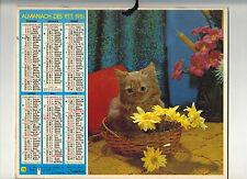 CALENDRIER, ALMANACH PTT DOUBLE - ANNEE 1981 -CHATON DANS PANIER&CHIEN+ - NORD