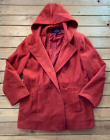 Mackintosh Women's Long hooded button up wool Pea Coat size L red