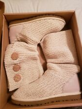 UGG AUSTRALIA CLASSIC CARDY SZ 9 Color Ivory Cream with Golden thread fold down