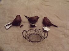 New Lot of 3 Metal Birds and Wire Basket