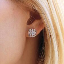 Silver Snowflake Crystal Rhinestone Square Ear Stud Earrings Wedding Jewelry D