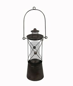 22 Inch Tall Black Metal and Glass Candle Lantern