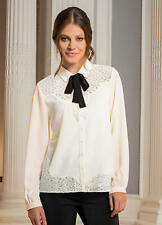Ivory Georgette Blouse with Lace Trim and Optional Tie Detail size 8 / 10