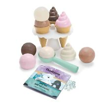 KIDS CHILDRENS PLAY PRETEND ICE CREAM SET cones and holder 17 piece by DANTOY