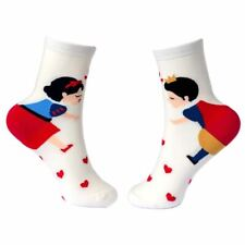 Women's Hearts and Snow Princess Storytime Crew Socks - Ladies One Size UK 4-7