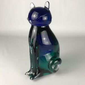 """Vintage Murano Italy Art Glass CAT 8"""" Figure Paperweight - Clear/Blue/Green"""