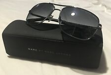 Marc by Marc Jacobs Aviator Sunglasses Silver, Black & Grey Striped Arms w/ Case