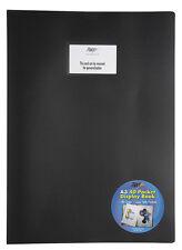 BLACK A3 DISPLAY BOOK 40 POCKET PRESENTATION FLEXI COVER PORTFOLIO FOLDER ARTIST