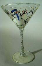 Hand Painted Snowman Martini Glass