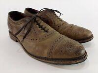 Allen Edmonds Kiowa Brown Distressed Leather Cap Toe Oxford Shoes Mens Size 9 D