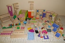 76pc WOODEN DOLLHOUSE FURNITURE Lot Car Bed Stairs Shower more....12lbs