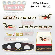 1966 Johnson 20HP FD-20 Sea Horse Outboard Reproduction 9 Pc Marine Vinyl Decals