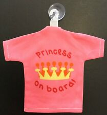 Pink Princess On Board Car Safety T-Shirt Syle Suction Cup Car Sign
