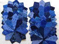 DRESDEN PLATES Quilt Blocks, All Blue, No Raw Edges, Set Of 12, 100% Cotton