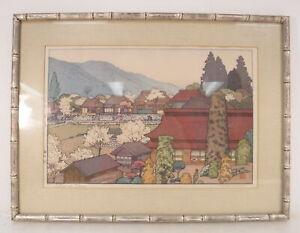 "Toshi Yoshida Wood Block Art Print ""Village of Plums"" Signed & Framed 15"" x 20"""