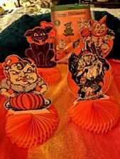 Last One-4Beistle Vintage 1929-30 Repro-Centerpieces-Black Cat-Clown-Gypsy-Witch