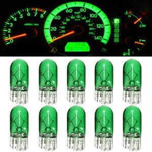 10x Green T10 168 W5W Sidelight Dashboard Instrument Panel Front Headlight Bulbs