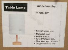 Table Lamp MYL003W Wood Color Steel Base White Shade - Wiring Required See Photo