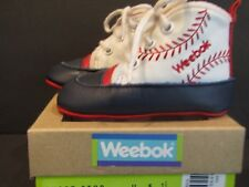 WEEBOK By Reebok~SHORT STOP~Size 2 BASEBALL THEME~WHITE/NAVY/RED Lace Up