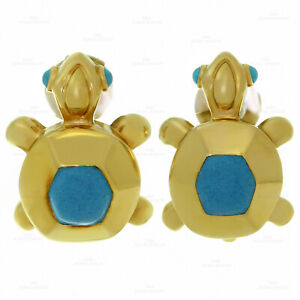 Rare CARTIER Blue Turquoise 18k Yellow Gold Turtle Earrings