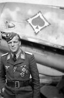 WWII B&W Photo German Bf109 Pilot Portrait Me109 Luftwaffe  WW2 World War / 2316
