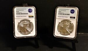 Burnished Silver Eagle 2017 W Eagle S$1 NGC MS70 Two Premier Select Series