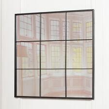 Large Black Metal Square Window Mirror  90 CM