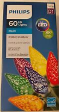 MULTI Color FACETED LED C6 60 count LIGHTS Christmas PHILIPS NEW