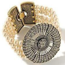 Bracelet - S/M Nwt Retail $140 Heidi Daus White Cream Pearl Belgium Disc