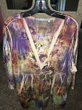 NY COLLECTION Women's Sweater Size 1X Multi Colored with Stones