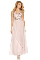 Quiz Pink Pearl Embellished Waterfall V Neck Maxi Dress Size 8