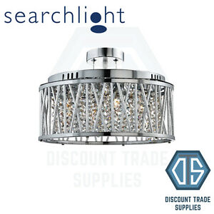 8335-5CC SEARCHLIGHT ELISE CHROME 5 LIGHT FITTING WITH CRYSTAL BUTTON DROPS